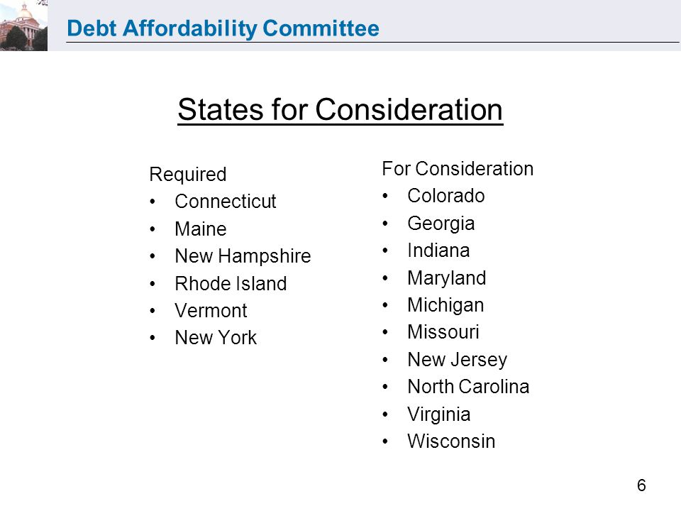 Debt Affordability Committee 6 States for Consideration Required Connecticut Maine New Hampshire Rhode Island Vermont New York For Consideration Color