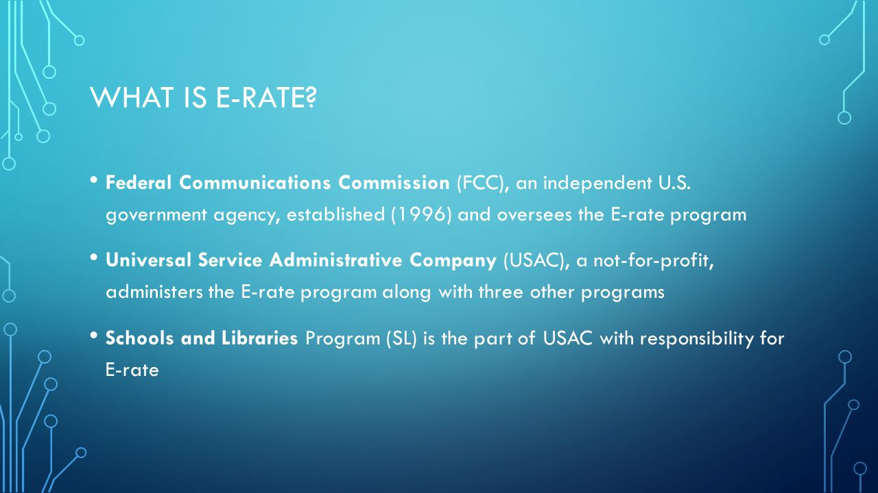 WHAT DID E-RATE SUPPORT.