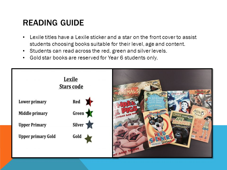 READING GUIDE Lexile titles have a Lexile sticker and a star on the front cover to assist students choosing books suitable for their level, age and co