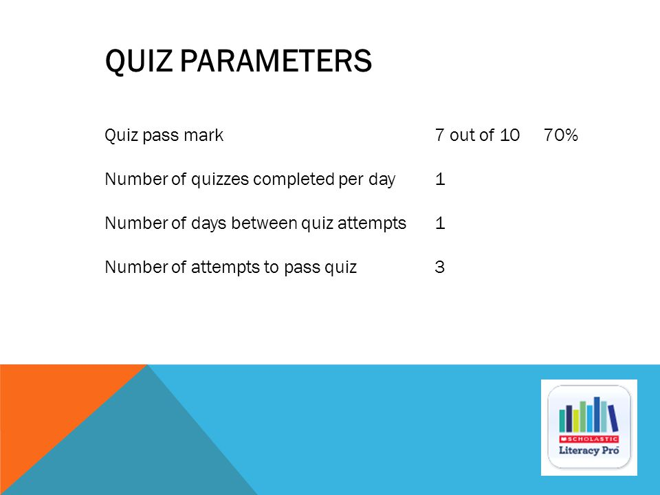 Quiz pass mark 7 out of 10 70% Number of quizzes completed per day1 Number of days between quiz attempts1 Number of attempts to pass quiz3 QUIZ PARAME