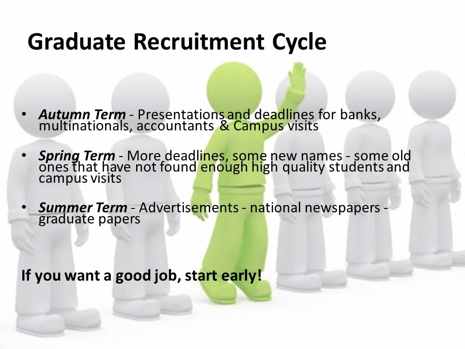 Graduate Recruitment Cycle Autumn Term - Presentations and deadlines for banks, multinationals, accountants & Campus visits Spring Term - More deadlin