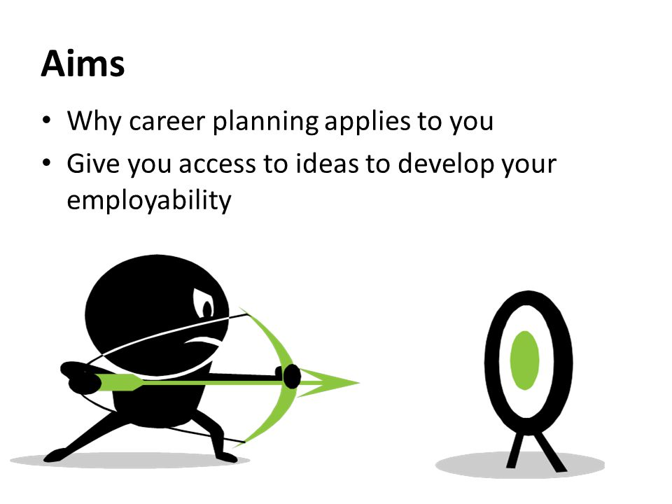 Aims Why career planning applies to you Give you access to ideas to develop your employability