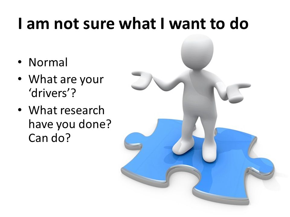 I am not sure what I want to do Normal What are your 'drivers'? What research have you done? Can do?