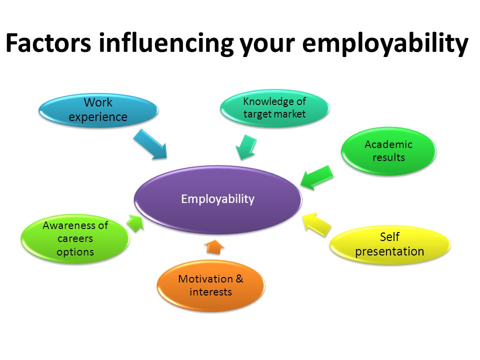 Factors influencing your employability Employability Work experience Knowledge of target market Academic results Awareness of careers options Self pre