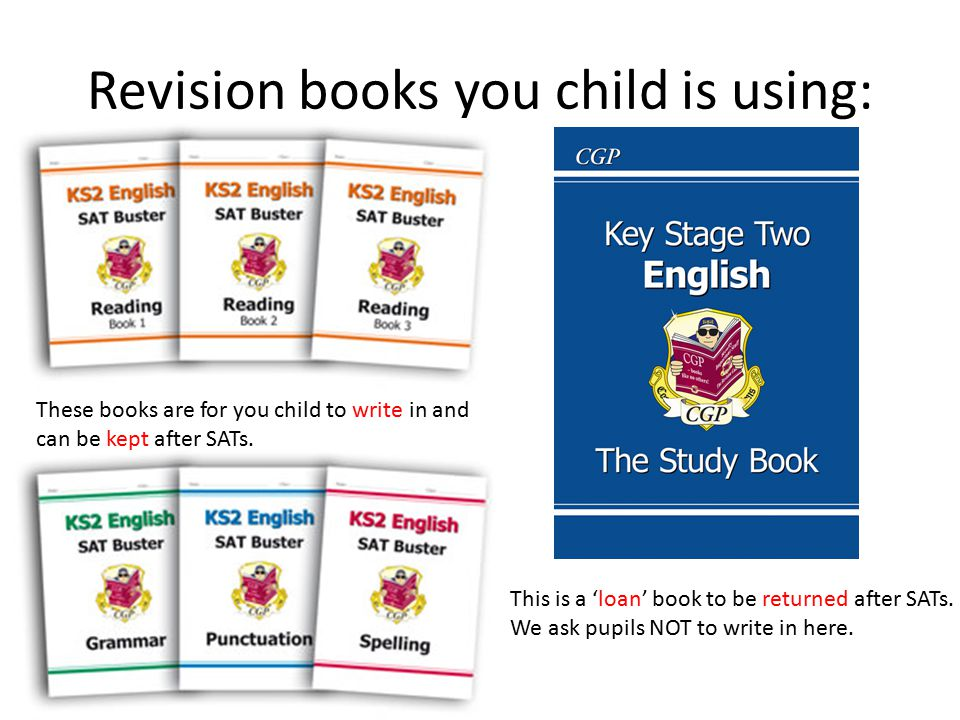 Revision books you child is using: This is a 'loan' book to be returned after SATs. We ask pupils NOT to write in here. These books are for you child