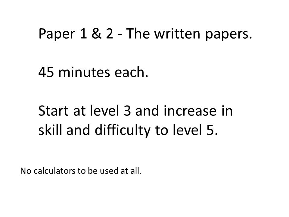 Paper 1 & 2 - The written papers.45 minutes each.