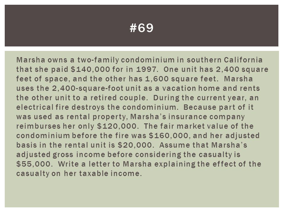 Marsha owns a two-family condominium in southern California that she paid $140,000 for in 1997.