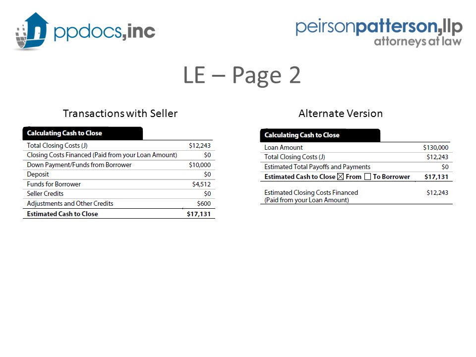 LE – Page 2 Transactions with SellerAlternate Version