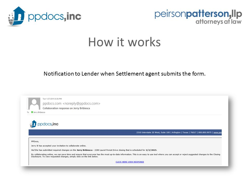 How it works Notification to Lender when Settlement agent submits the form.