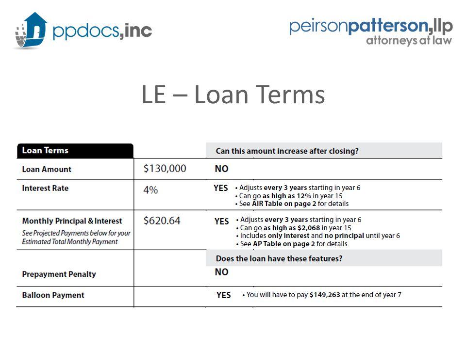 LE – Loan Terms