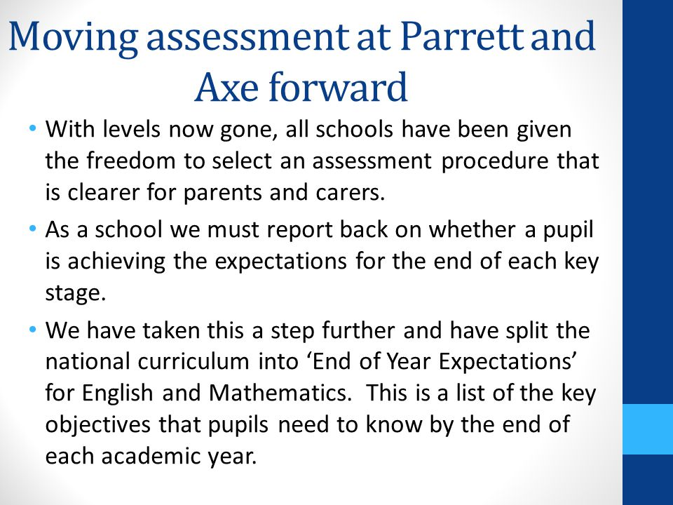Assessment Changes January 2015
