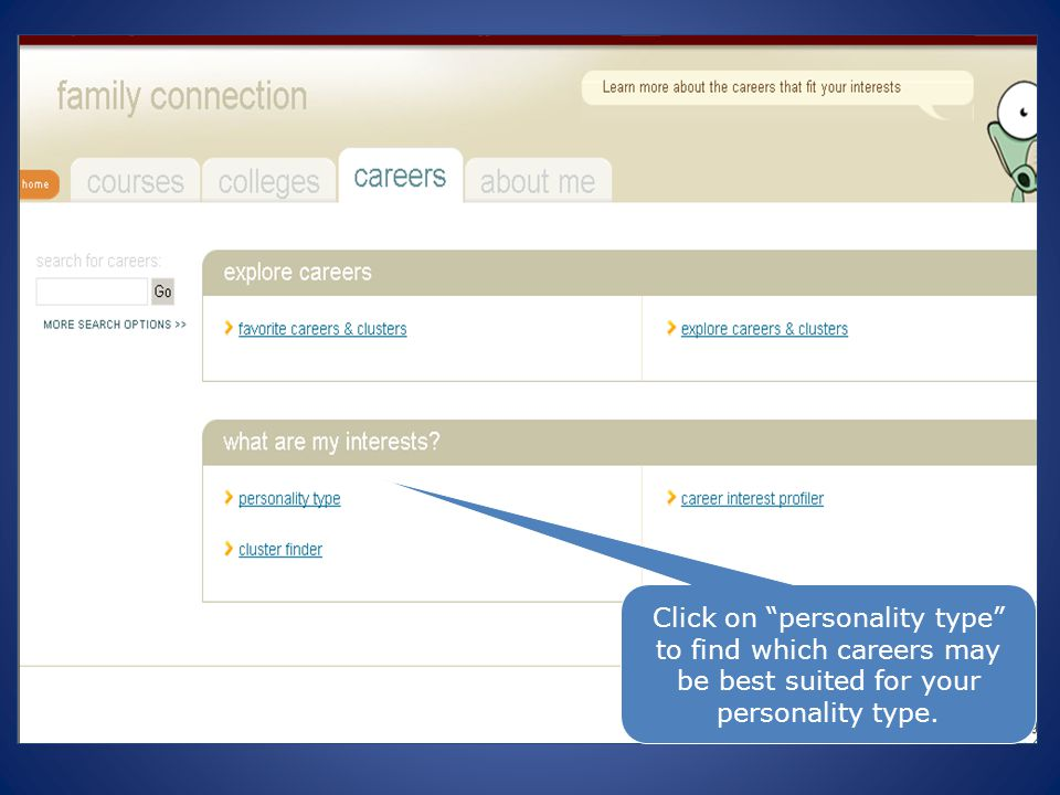 15 Click on personality type to find which careers may be best suited for your personality type.