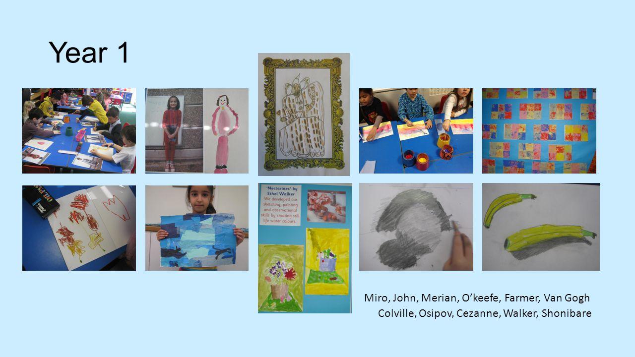 Year 1 Colville, Osipov, Cezanne, Walker, Shonibare Miro, John, Merian, O'keefe, Farmer, Van Gogh