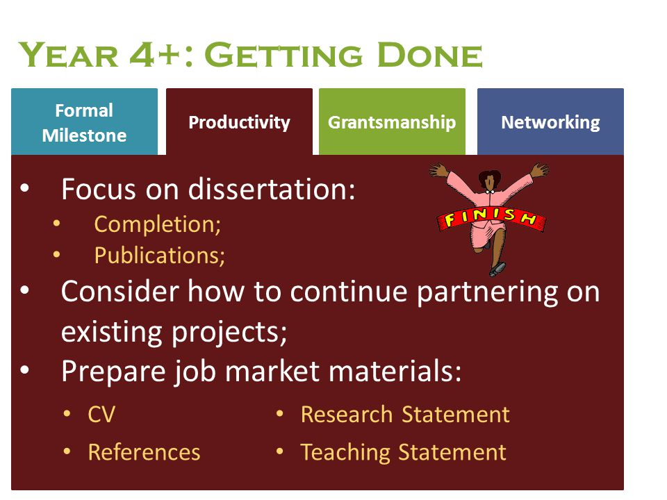 Formal Milestone NetworkingProductivity Grantsmanship Year 4+: Getting Done Focus on dissertation: Completion; Publications; Consider how to continue