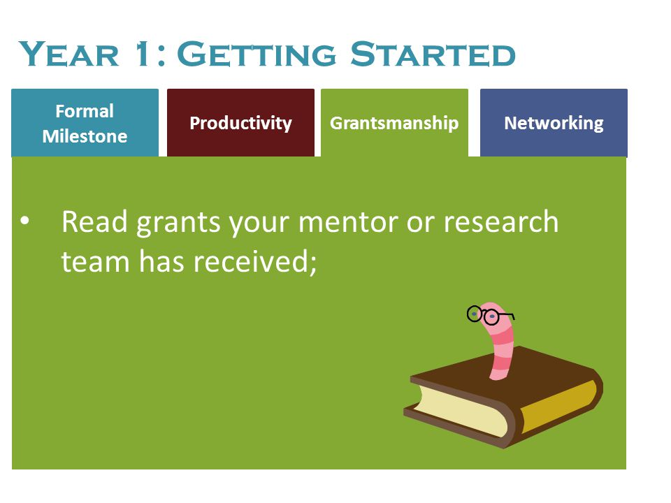Formal Milestone NetworkingProductivity Grantsmanship Year 1: Getting Started Read grants your mentor or research team has received; Year 1: Getting S