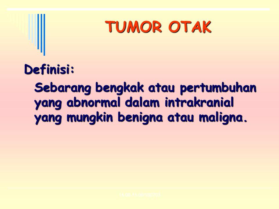 TUMOR OTAK Definisi: Sebarang bengkak atau pertumbuhan yang abnormal dalam intrakranial yang mungkin benigna atau maligna.