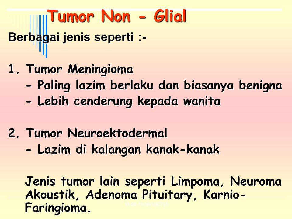 14.00-15.00/180703 Tumor Non - Glial Berbagai jenis seperti :- 1. Tumor Meningioma - Paling lazim berlaku dan biasanya benigna - Lebih cenderung kepad