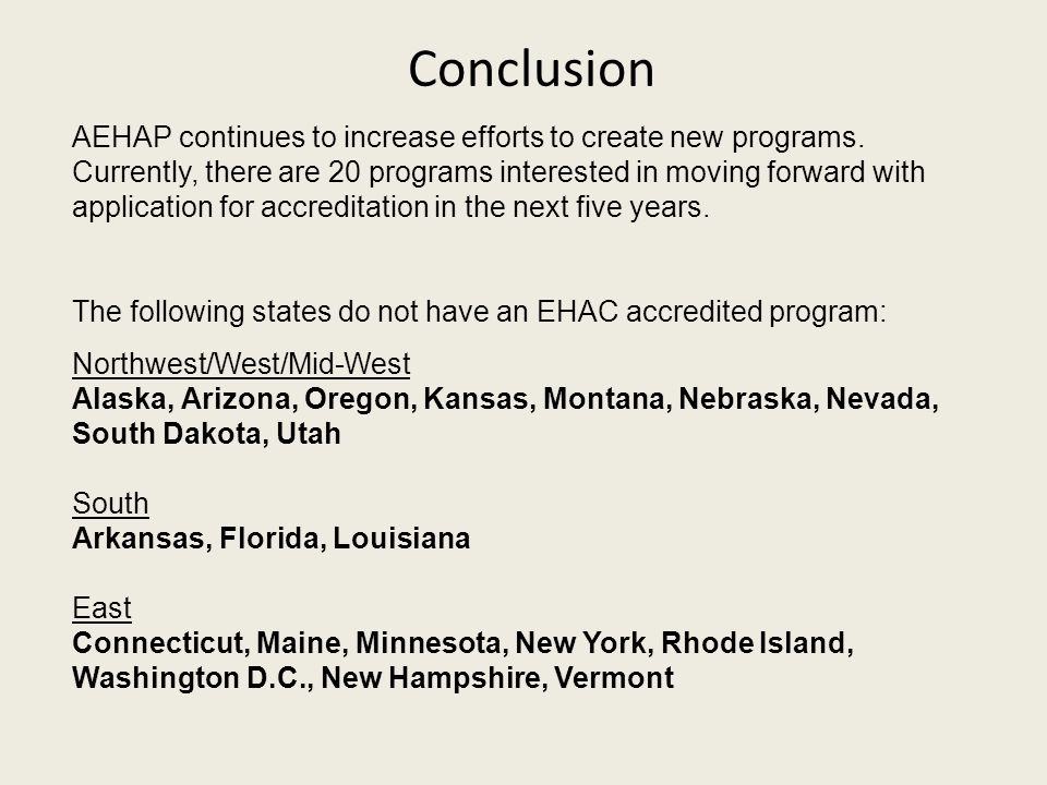 Conclusion AEHAP continues to increase efforts to create new programs.