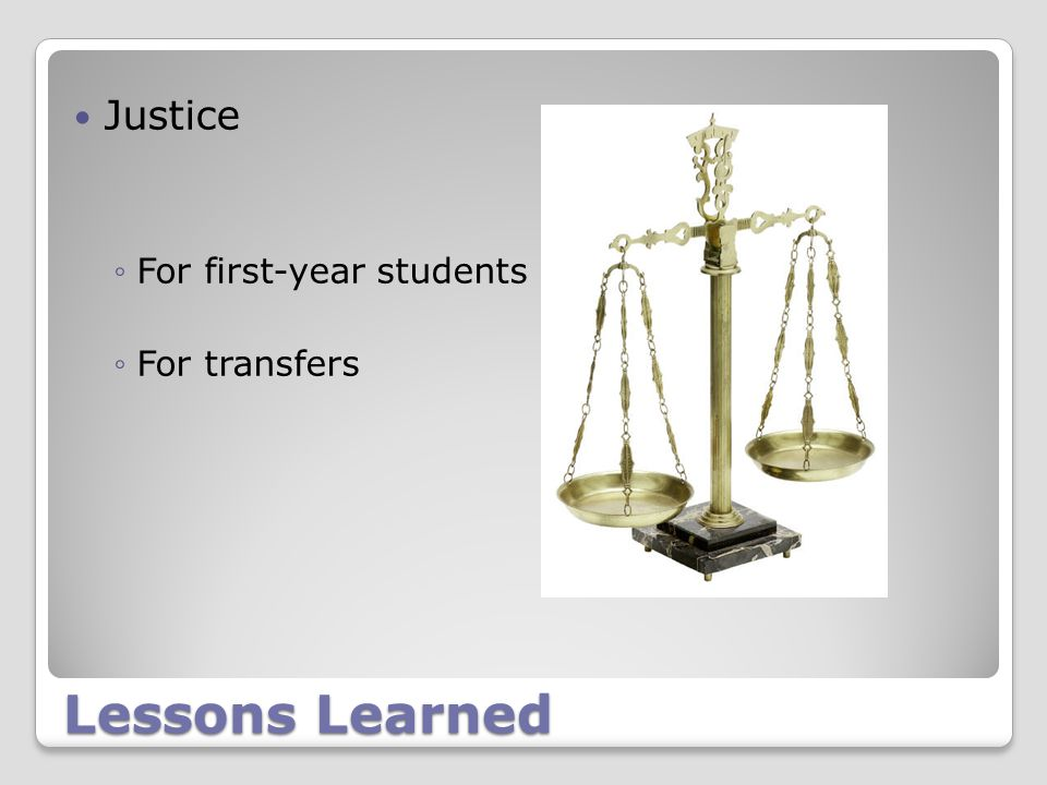 Lessons Learned Justice ◦For first-year students ◦For transfers