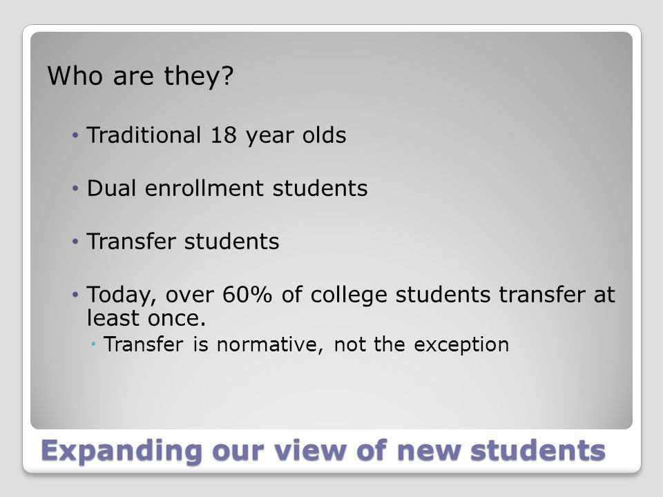 Expanding our view of new students Who are they? Traditional 18 year olds Dual enrollment students Transfer students Today, over 60% of college studen