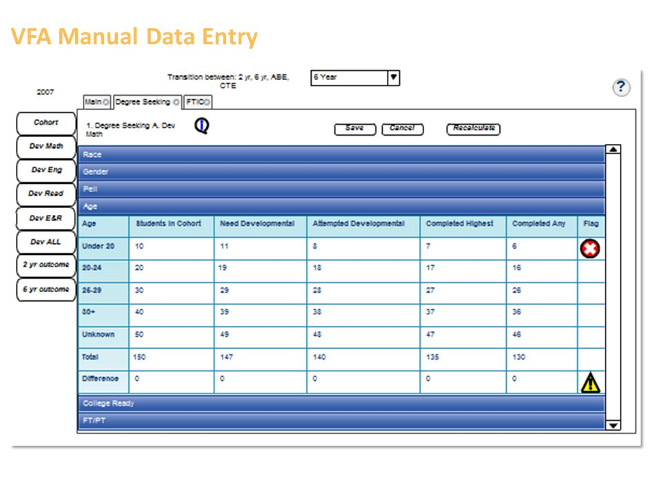 VFA Manual Data Entry