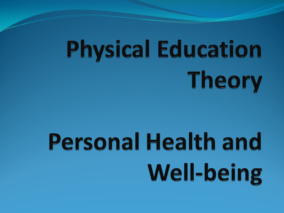 Plenary You might have good personal health and well-being, but do you have personal knowledge and understanding.