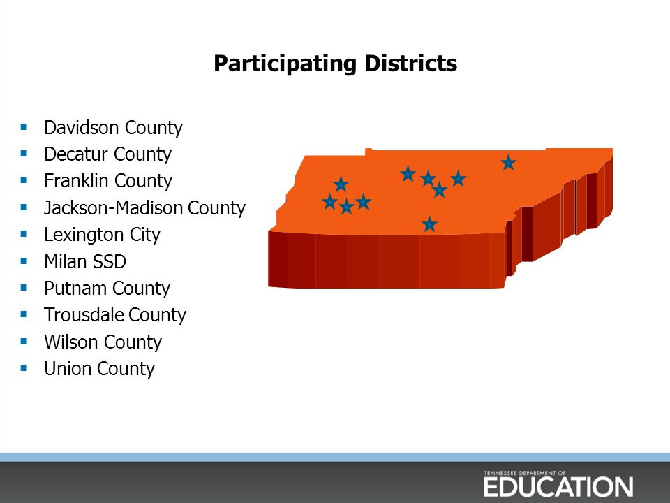 Participating Districts  Davidson County  Decatur County  Franklin County  Jackson-Madison County  Lexington City  Milan SSD  Putnam County  Trousdale County  Wilson County  Union County