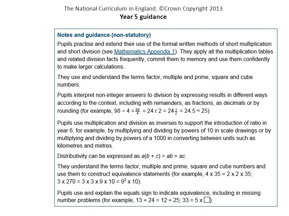 The National Curriculum in England. ©Crown Copyright 2013 Year 6 objectives