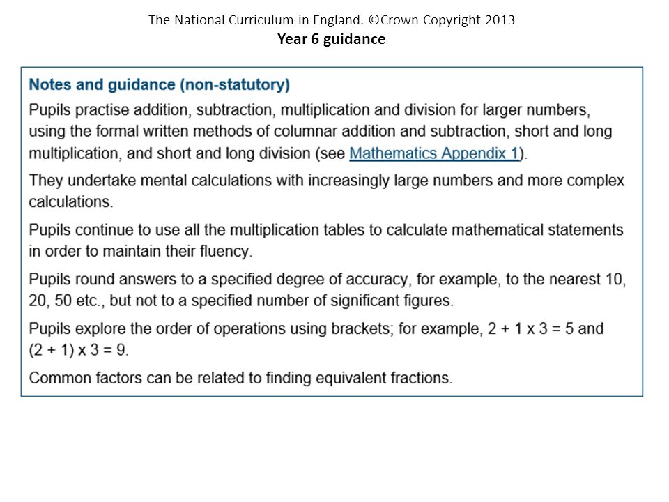 The National Curriculum in England. ©Crown Copyright 2013 Year 6 guidance