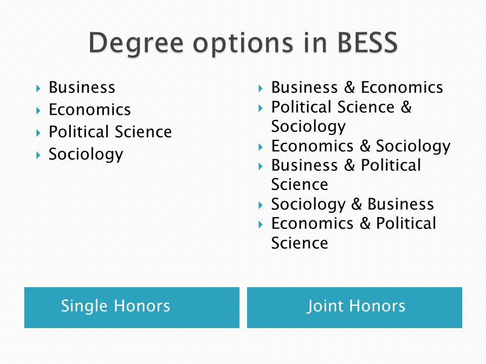  Specialise in one (Single honor) or two (Joint honors) subjects  Option to undertake an undergraduate dissertation in the final year  Ordinary (3 rd Year) or Honor (4 th Year) degrees  Careers or continuing education information sessions provided