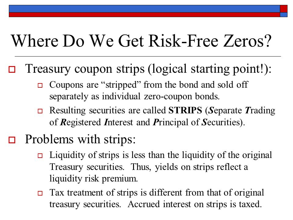 """Where Do We Get Risk-Free Zeros?  Treasury coupon strips (logical starting point!):  Coupons are """"stripped"""" from the bond and sold off separately as"""