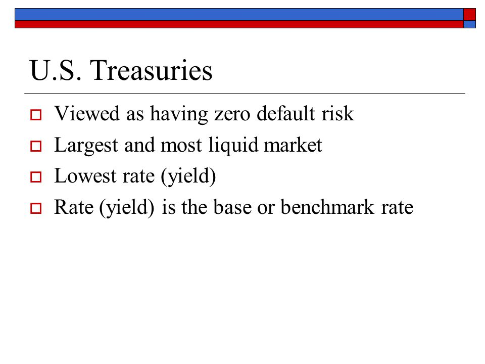 U.S. Treasuries  Viewed as having zero default risk  Largest and most liquid market  Lowest rate (yield)  Rate (yield) is the base or benchmark ra
