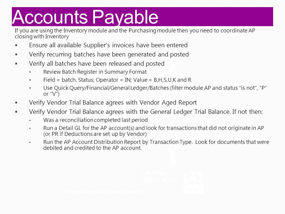 Accounts Payable Integration and Development Full Read Full Write Full Read Limited Write If you are using the Inventory module and the Purchasing module then you need to coordinate AP closing with Inventory  Ensure all available Supplier's invoices have been entered  Verify recurring batches have been generated and posted  Verify all batches have been released and posted Review Batch Register in Summary Format Field = batch.