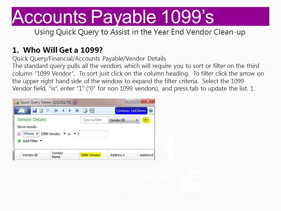 Accounts Payable 1099's Integration and Development Full Read Full Write Full Read Limited Write Using Quick Query to Assist in the Year End Vendor Clean-up 1.