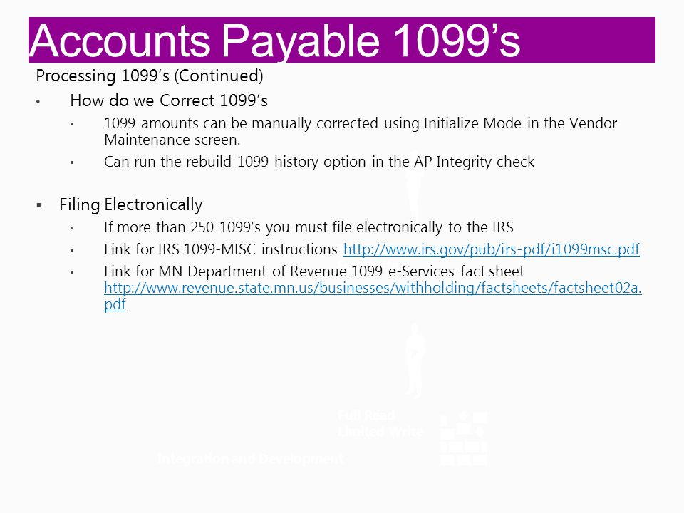Accounts Payable 1099's Integration and Development Full Read Full Write Full Read Limited Write Processing 1099's (Continued) How do we Correct 1099's 1099 amounts can be manually corrected using Initialize Mode in the Vendor Maintenance screen.