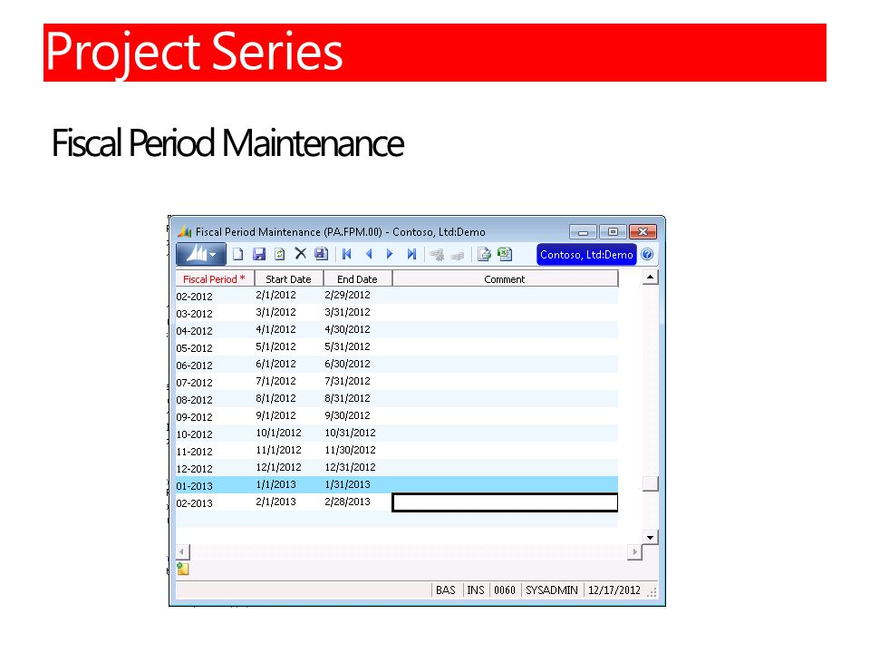 Fiscal Period Maintenance 36 Project Series