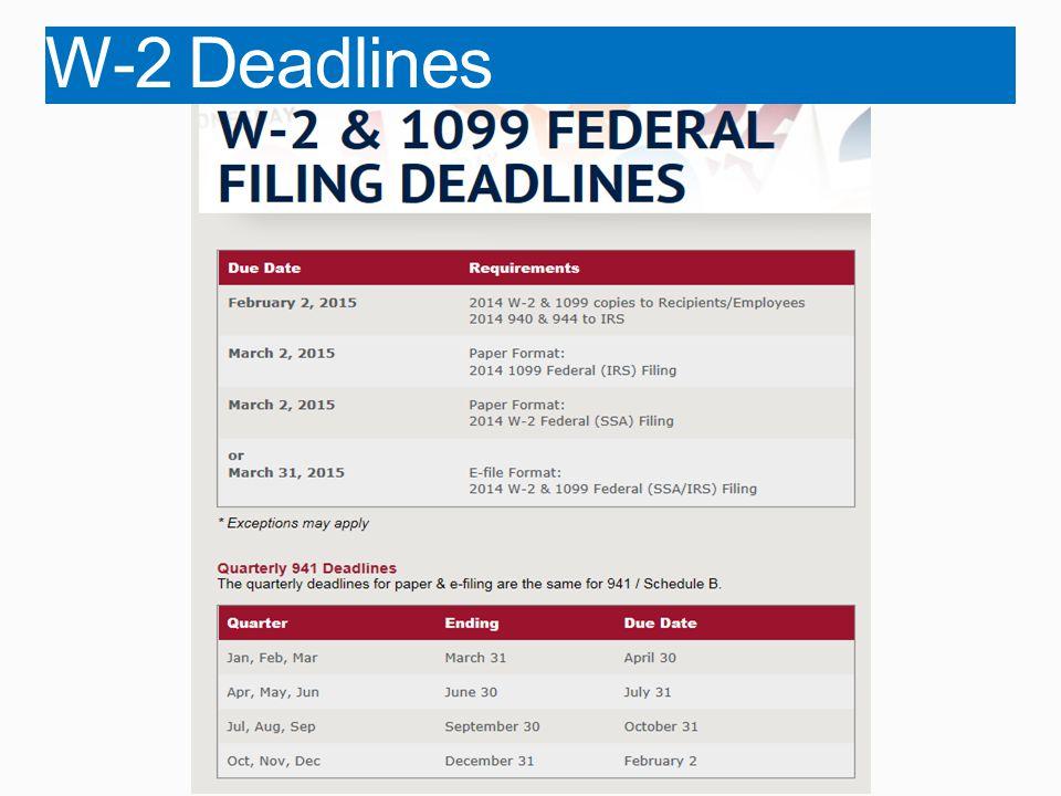 W-2 Deadlines