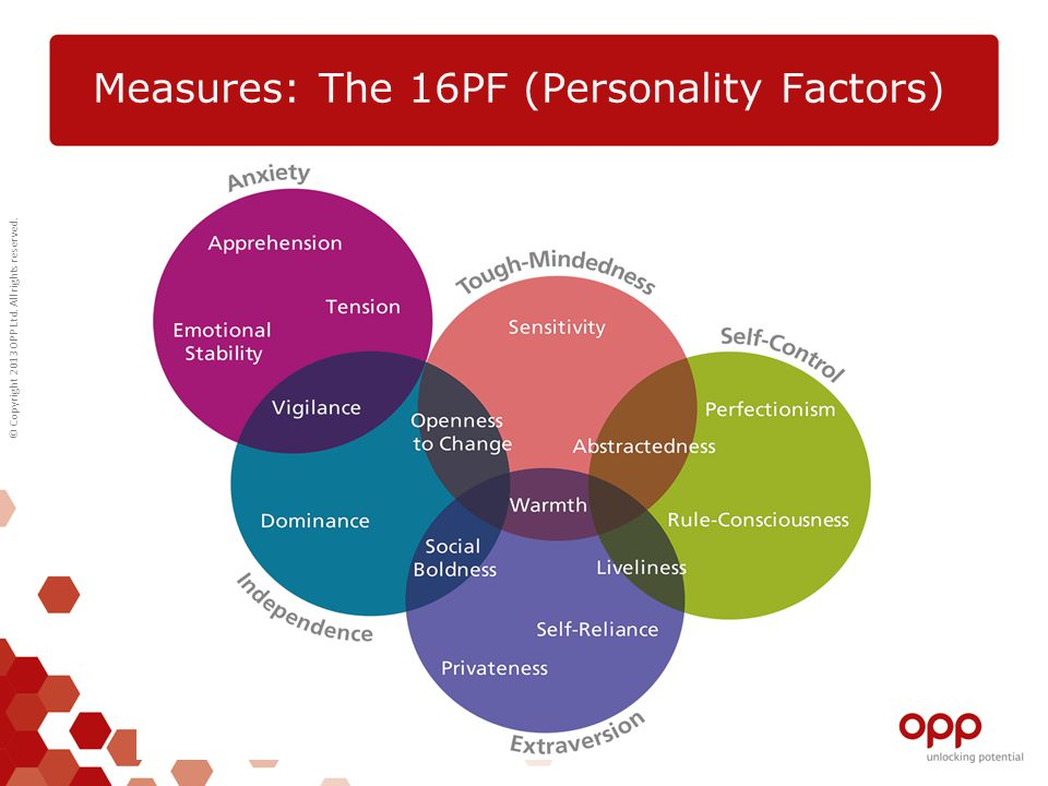 © Copyright 2013 OPP Ltd. All rights reserved. Measures: The 16PF (Personality Factors)