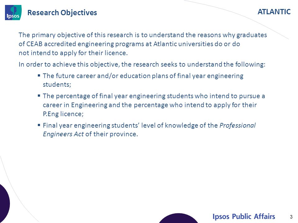 ATLANTIC Research Objectives The primary objective of this research is to understand the reasons why graduates of CEAB accredited engineering programs at Atlantic universities do or do not intend to apply for their licence.