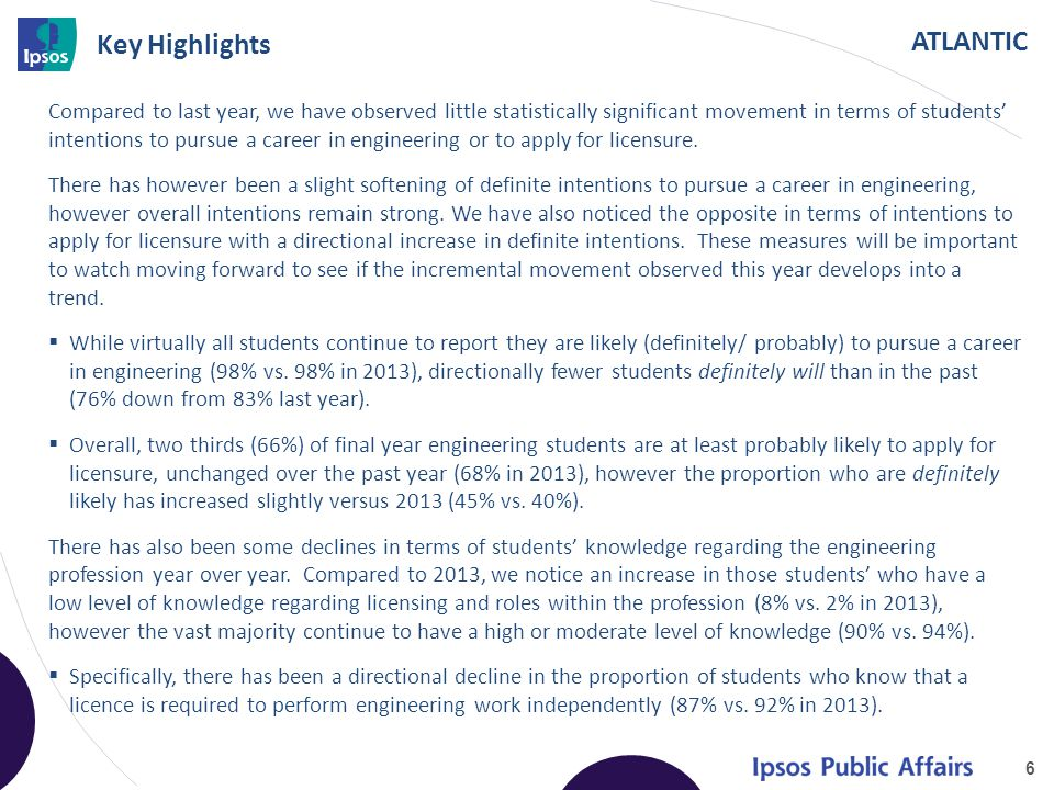 ATLANTIC Key Highlights Compared to last year, we have observed little statistically significant movement in terms of students' intentions to pursue a career in engineering or to apply for licensure.