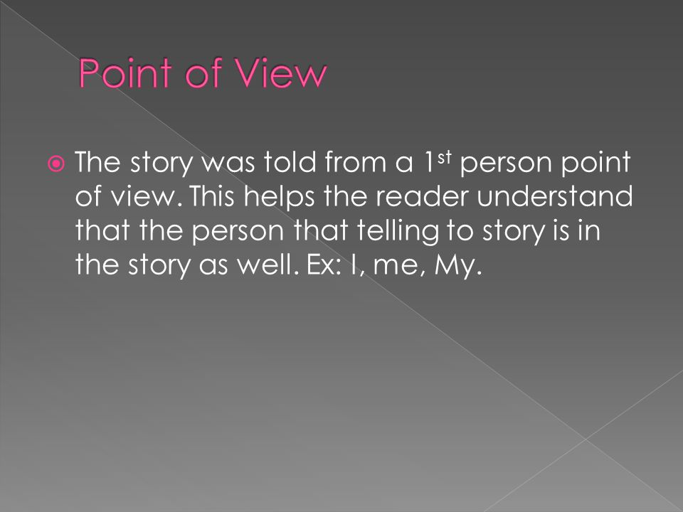  The story was told from a 1 st person point of view.