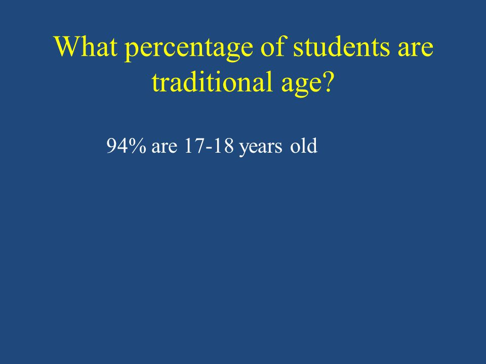 What percentage of students are traditional age 94% are 17-18 years old
