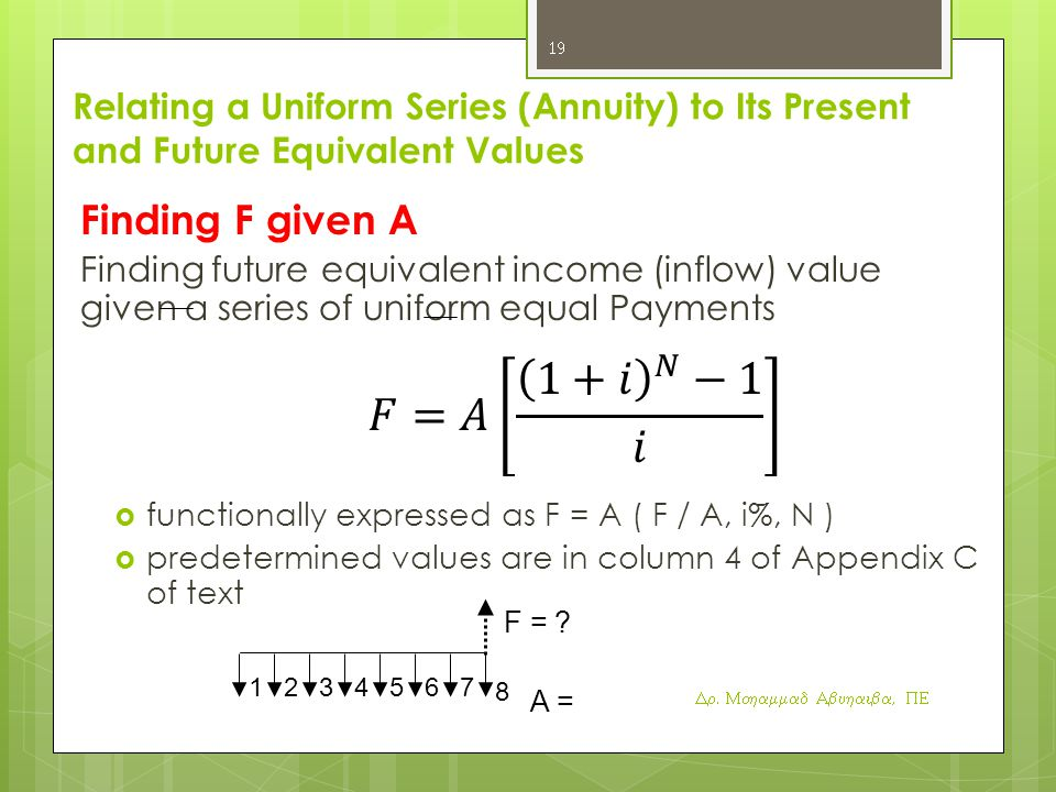 Relating a Uniform Series (Annuity) to Its Present and Future Equivalent Values Finding F given A Finding future equivalent income (inflow) value given a series of uniform equal Payments  functionally expressed as F = A ( F / A, i%, N )  predetermined values are in column 4 of Appendix C of text F = .