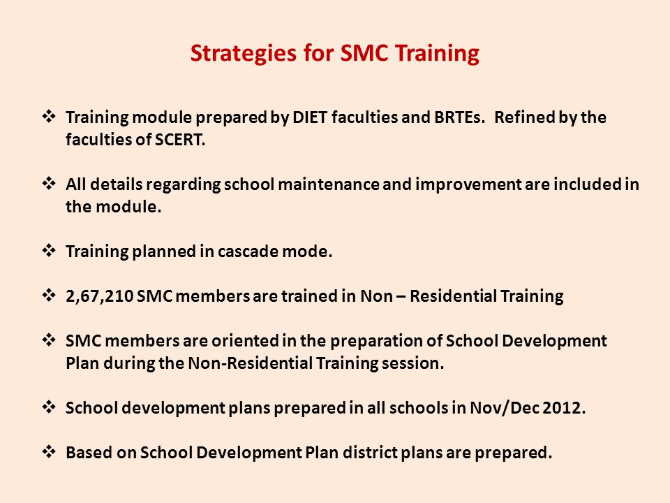 Strategies for SMC Training  Training module prepared by DIET faculties and BRTEs. Refined by the faculties of SCERT.  All details regarding school