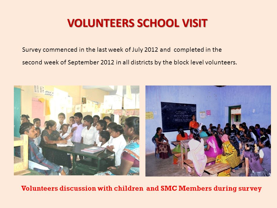 VOLUNTEERS SCHOOL VISIT Survey commenced in the last week of July 2012 and completed in the second week of September 2012 in all districts by the bloc