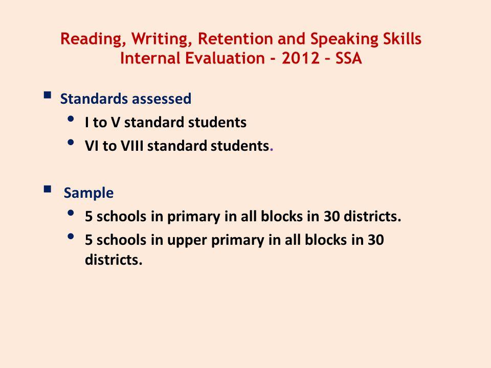 Reading, Writing, Retention and Speaking Skills Internal Evaluation - 2012 – SSA  Standards assessed I to V standard students VI to VIII standard stu