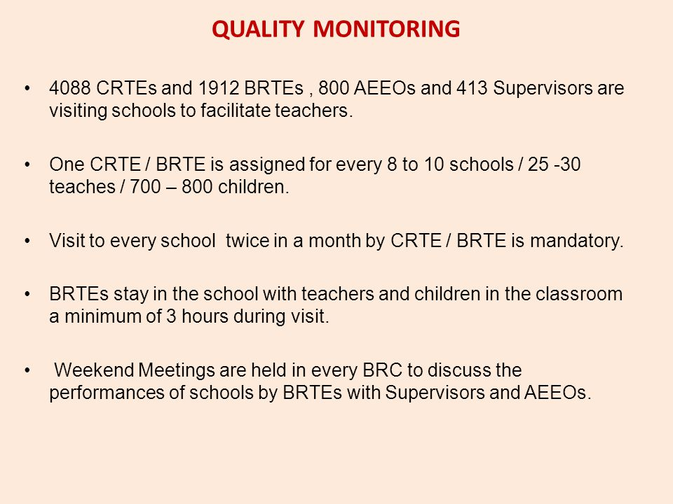QUALITY MONITORING 4088 CRTEs and 1912 BRTEs, 800 AEEOs and 413 Supervisors are visiting schools to facilitate teachers. One CRTE / BRTE is assigned f