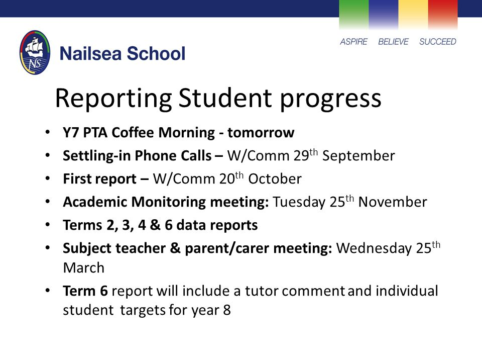 Reporting Student progress Y7 PTA Coffee Morning - tomorrow Settling-in Phone Calls – W/Comm 29 th September First report – W/Comm 20 th October Acade