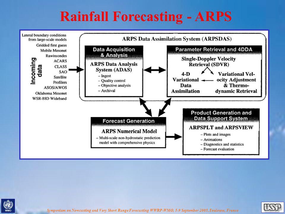 Symposium on Nowcasting and Very Short Range Forecasting WWRP-WMO, 5-9 September 2005, Toulouse, France Rainfall Forecasting - ARPS