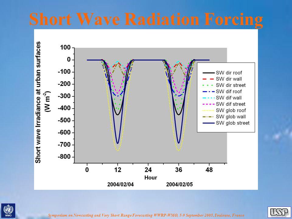 Symposium on Nowcasting and Very Short Range Forecasting WWRP-WMO, 5-9 September 2005, Toulouse, France Short Wave Radiation Forcing